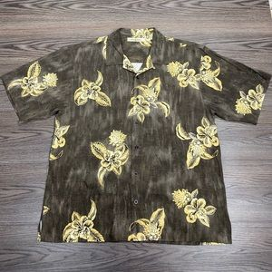 Tommy Bahama Brown & Gold Hawaiian Silk Shirt XL